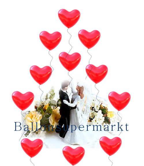 Herzluftballons, Luftballons Herzen, Rote Herzballons aus Latex